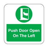 Push Door Open On The Left Floor Graphics Sticker | Safety-Label.co.uk