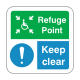 Refuge Point Keep Clear Floor Graphics Sticker | Safety-Label.co.uk