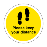 Please Keep Your Distance Floor Sticker - Yellow | Safety-Label.co.uk