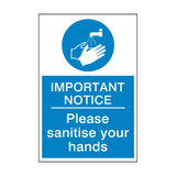 Important Notice - Please Sanitise Your Hands Sticker | Safety-Label.co.uk