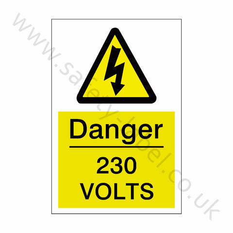230 Volts Electrical Safety Sign - Safety-Label.co.uk