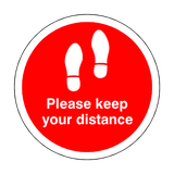 Please Keep Your Distance Floor Sticker - Red | Safety-Label.co.uk