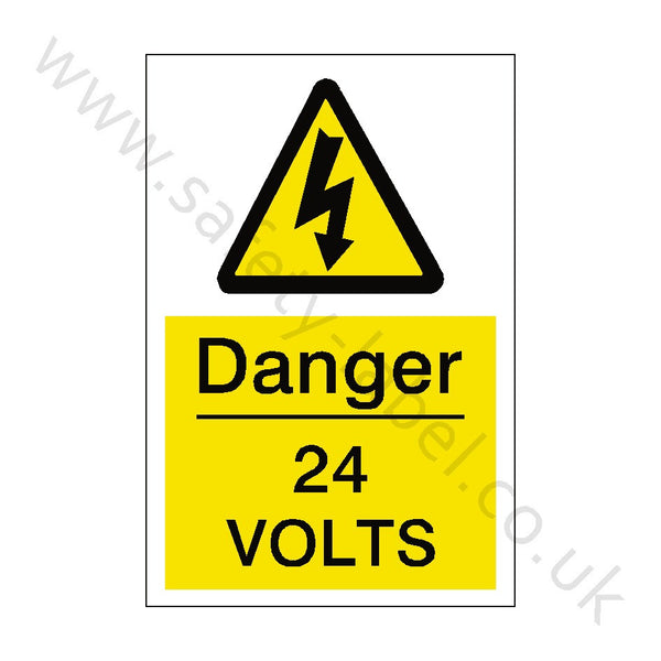 24 Volts Electrical Safety Sign - Safety-Label.co.uk