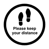 Please Keep Your Distance Floor Sticker - Black | Safety-Label.co.uk