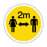 2 Metres Gap Floor Sticker - Yellow | Safety-Label.co.uk