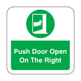 Push Door Open On The Right Floor Graphics Sticker | Safety-Label.co.uk