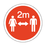 2 Metres Gap Floor Sticker - Red | Safety-Label.co.uk