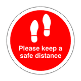 Please Keep A Safe Distance Floor Sticker - Red | Safety-Label.co.uk
