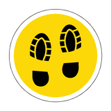 Social Distance Foot Print Floor Sticker - Yellow | Safety-Label.co.uk