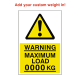 Maximum Load Sticker Kg Custom Weight | Safety-Label.co.uk