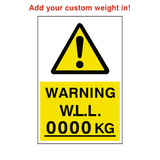 Working Load Limit Sticker Kg Custom Weight | Safety-Label.co.uk