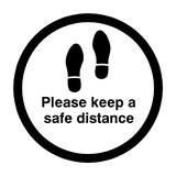 Please Keep A Safe Distance Floor Sticker - Black | Safety-Label.co.uk