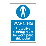 Protective Clothing Must Be Worn Past This Point Sticker | Safety-Label.co.uk