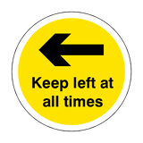 Keep Left At All Times Floor Sticker - Yellow | Safety-Label.co.uk