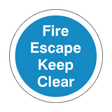 Fire Escape Keep Clear Floor Marker Sticker | Safety-Label.co.uk