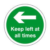 Keep Left At All Times Floor Sticker - Green | Safety-Label.co.uk