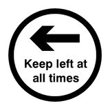 Keep Left At All Times Floor Sticker - Black | Safety-Label.co.uk