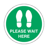 Please Wait Here Floor Sticker - Green | Safety-Label.co.uk