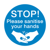STOP! Please Sanitise Your Hands Sticker | Safety-Label.co.uk