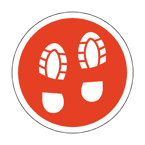 Social Distance Foot Print Floor Sticker - Red | Safety-Label.co.uk