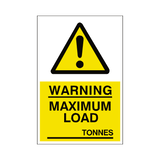 Maximum Load Sticker Tonnes | Safety-Label.co.uk