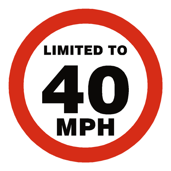 40 Mph Speed Limit Sticker | Safety-Label.co.uk