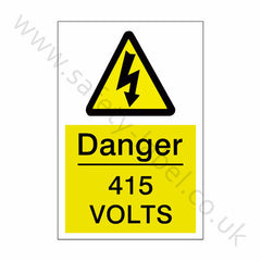 415 Volts Electrical Safety Sign - Safety-Label.co.uk
