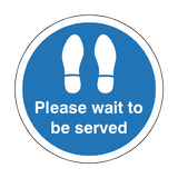 Please Wait To Be Served Floor Sticker - Blue | Safety-Label.co.uk