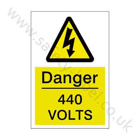 440 Volts Electrical Safety Sign - Safety-Label.co.uk