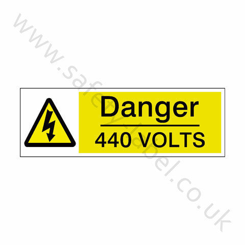 440 Volts Safety Sign - Safety-Label.co.uk