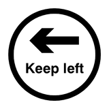 Keep Left Floor Sticker - Black | Safety-Label.co.uk
