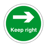 Keep Right Floor Sticker - Green | Safety-Label.co.uk