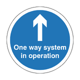 One Way System In Operation Floor Sticker - Blue | Safety-Label.co.uk