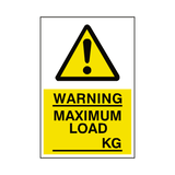 Maximum Load Sticker Kg