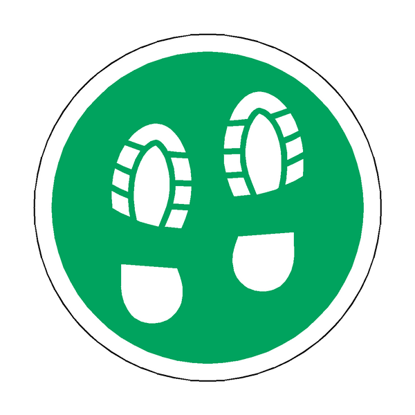Social Distance Foot Print Floor Sticker - Green | Safety-Label.co.uk