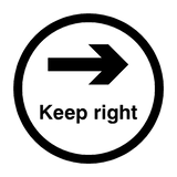 Keep Right Floor Sticker - Black | Safety-Label.co.uk