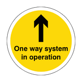 One Way System In Operation Floor Sticker - Yellow | Safety-Label.co.uk