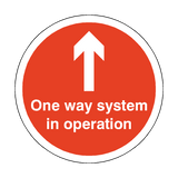 One Way System In Operation Floor Sticker - Red | Safety-Label.co.uk