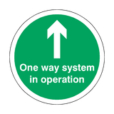 One Way System In Operation Floor Sticker - Green | Safety-Label.co.uk