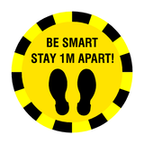 Stay 1 Metre Apart Floor Sticker - Yellow | Safety-Label.co.uk