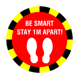 Stay 1 Metre Apart Floor Sticker - Red | Safety-Label.co.uk