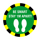 Stay 1 Metre Apart Floor Sticker - Green | Safety-Label.co.uk