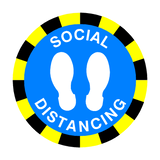 Social Distancing Floor Sticker - Blue | Safety-Label.co.uk