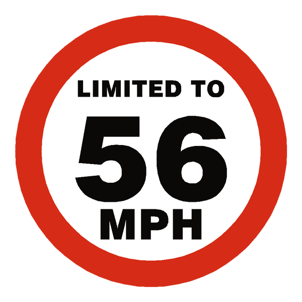 56 Mph Speed Limit Sticker | Safety-Label.co.uk