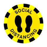 Social Distancing Floor Sticker - Yellow | Safety-Label.co.uk