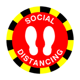 Social Distancing Floor Sticker - Red | Safety-Label.co.uk