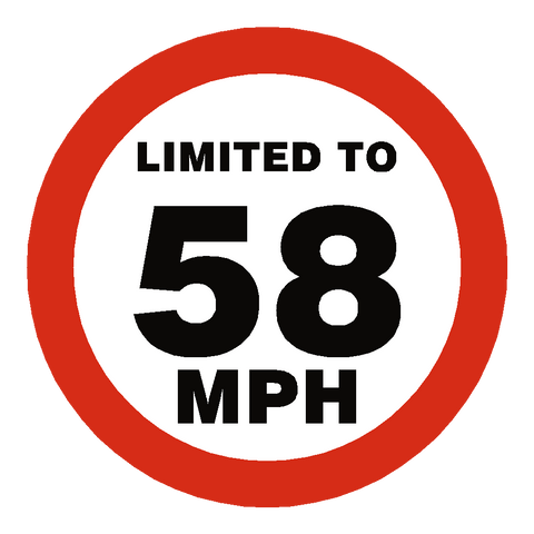 58 Mph Speed Limit Sticker - Safety-Label.co.uk