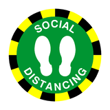 Social Distancing Floor Sticker - Green | Safety-Label.co.uk