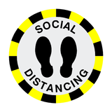 Social Distancing Floor Sticker - Black | Safety-Label.co.uk