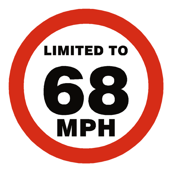 68 Mph Speed Limit Sticker - Safety-Label.co.uk